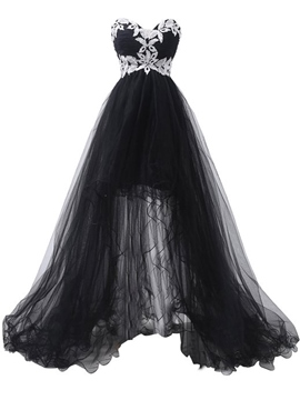 Ericdress Appliques Asymmetry Sweetheart Sleeveless Evening Dress Black Wedding Dresses