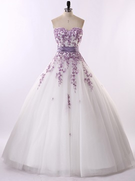 Ericdress Long Colorful Appliques Ball Gown Sweetheart Wedding Dress