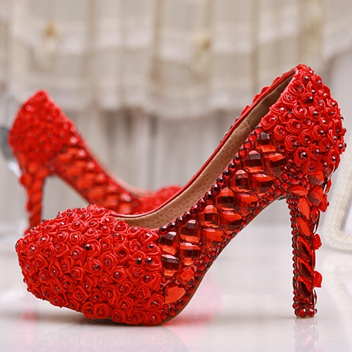 Ericdress Brilliant Red Rhinestone Stiletto Heels Wedding Shoes