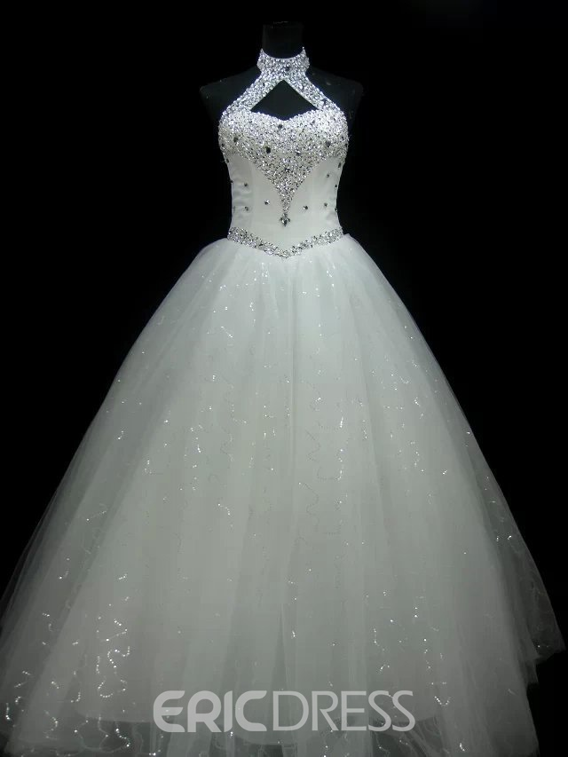 Wedding Dress Halter Beaded Ball Gown