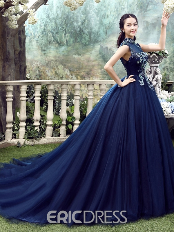 Ericdress Cathedral Appliques Ball Gown Quinceanera Dress 2019