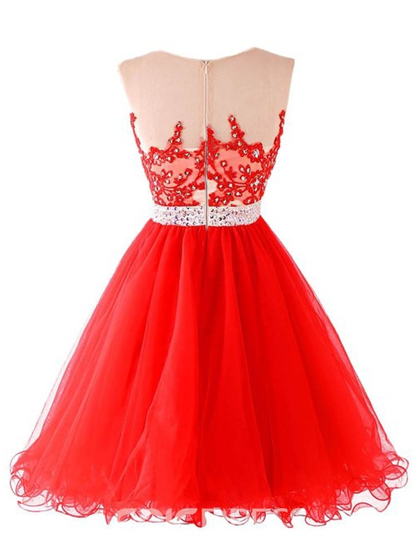 Ericdress Appliques Beading Red Homecoming Dress