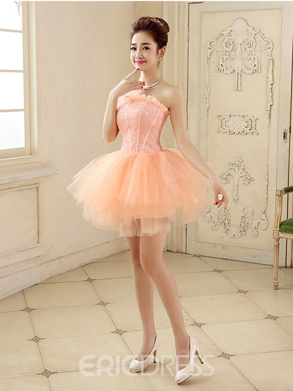 Ericdress A-Line Strapless Lace Short Homecoming Dress