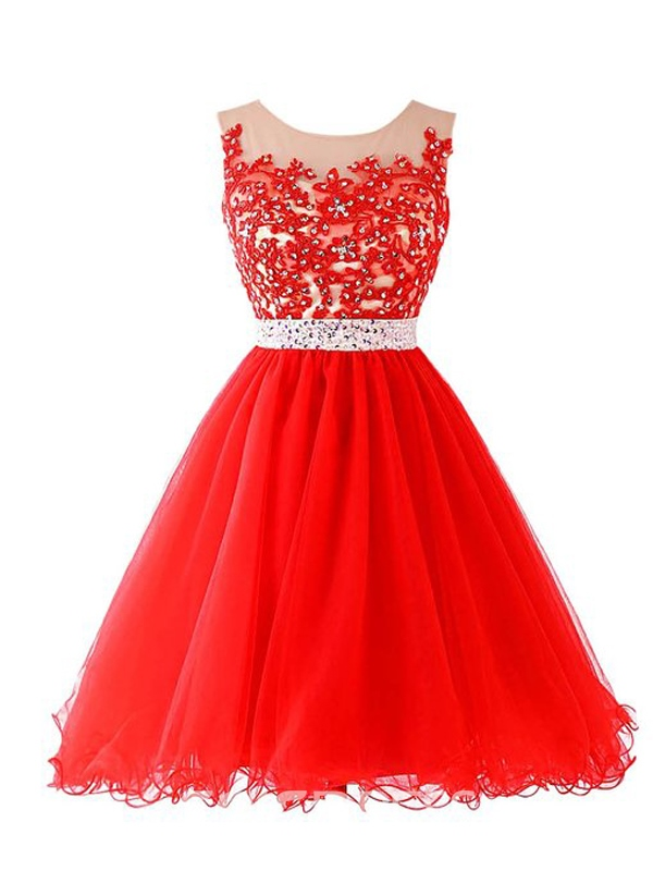 Ericdress A-Line Appliques Ruched Zipper-Up Mini Homecoming Dress