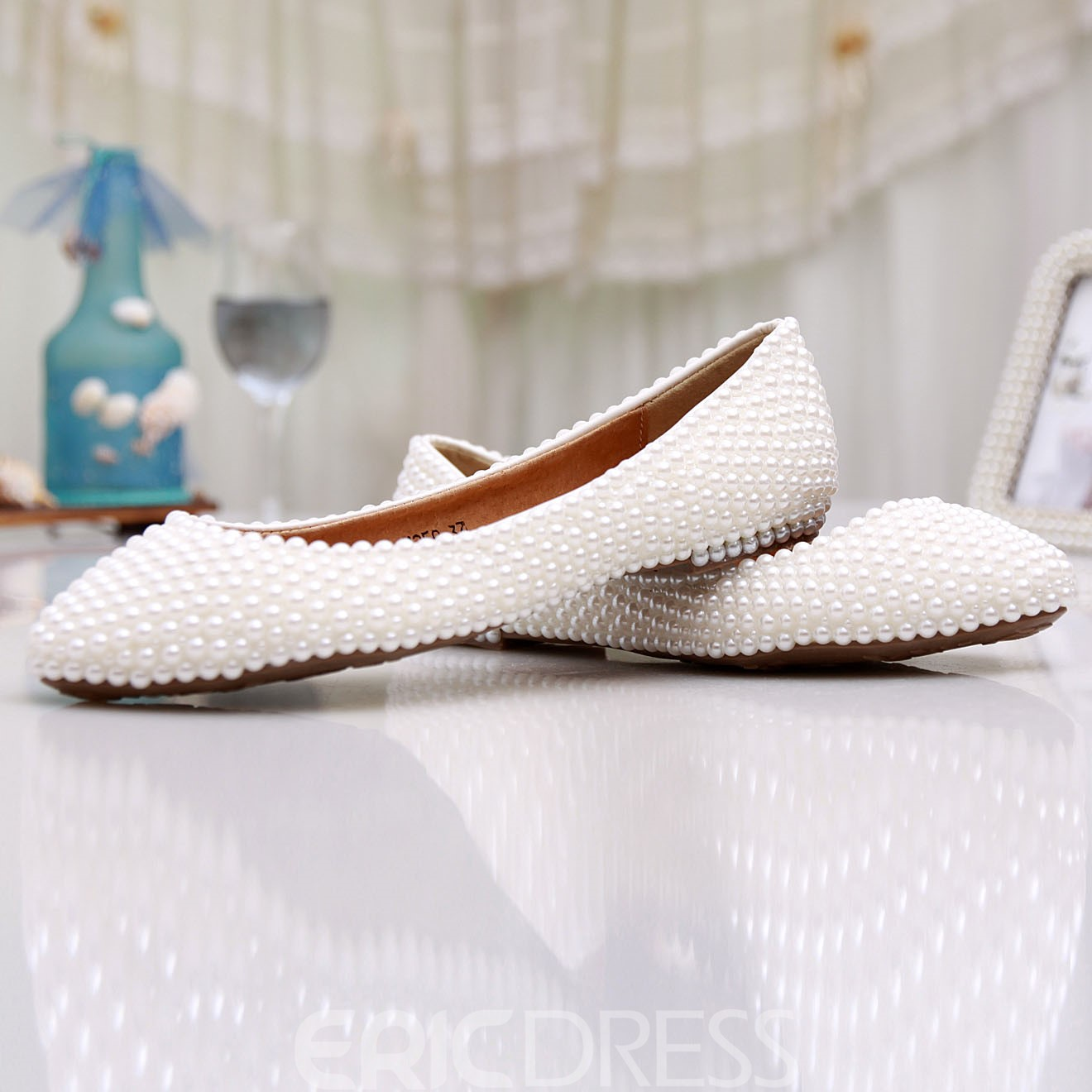Ericdress Delicate Pearl Flat Wedding Shoes