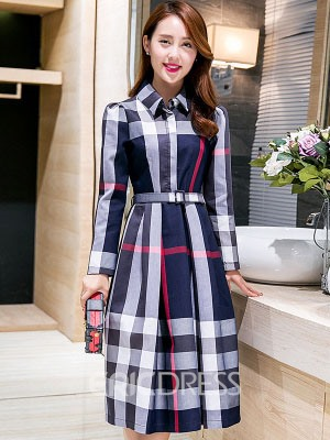 Ericdress Plaid Belt Lapel Single-Breasted Casual Dress