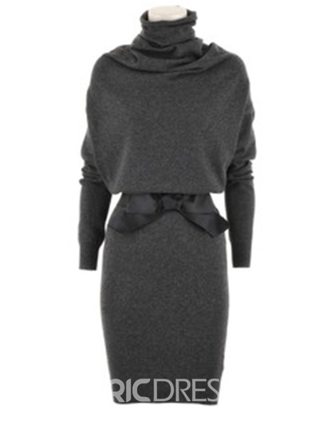 Ericdress Heap Collar Patchwork Long Sleeve Sheath Dress