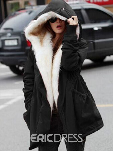 Ericdress Mid-Length Loose Thick Hooded Coat