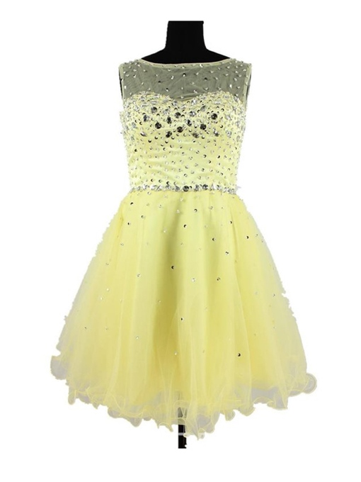 Ericdress A-Line Ruched Beading Zipper-Up Homecoming Dress