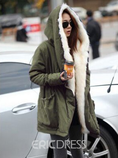 Ericdress Military Winter Casual Outdoor Hoodie Trench Parkas Women's Overcoat