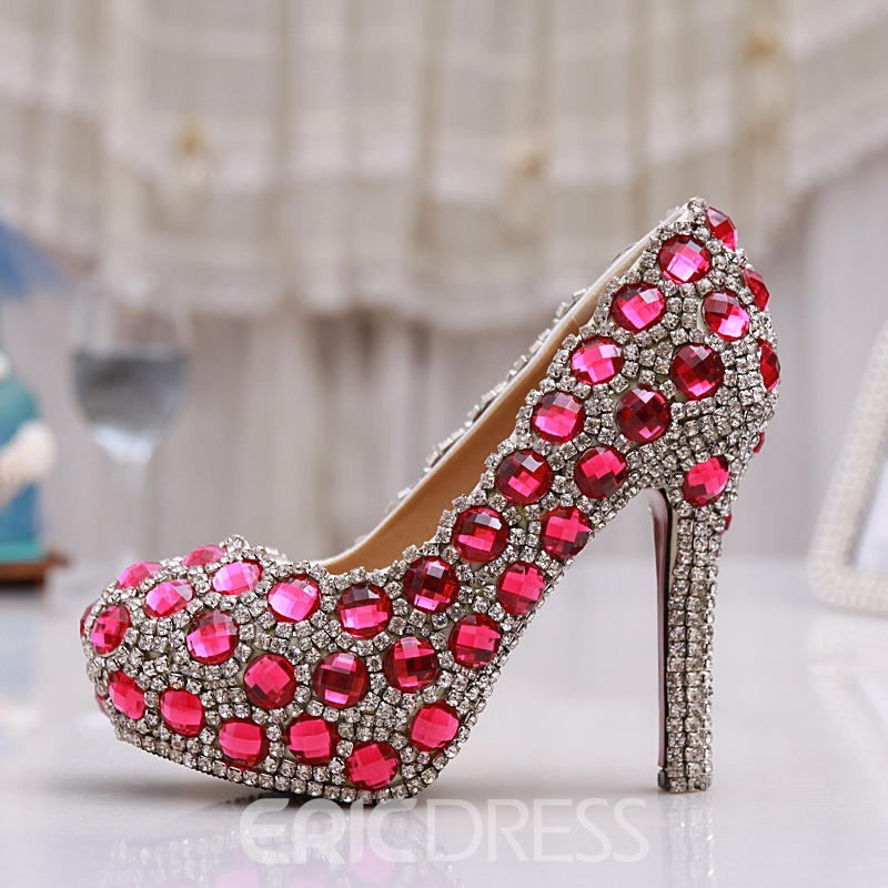 Ericdress Pink Crystal Stiletto Heels Wedding Shoes