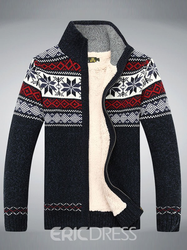 Ericdress Zip Flocking Flower Decorated Men's Sweater