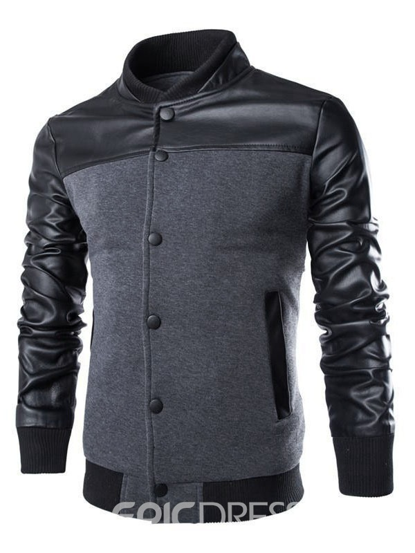 Ericdress PU Patchwork Stand Collar Men's Jacket