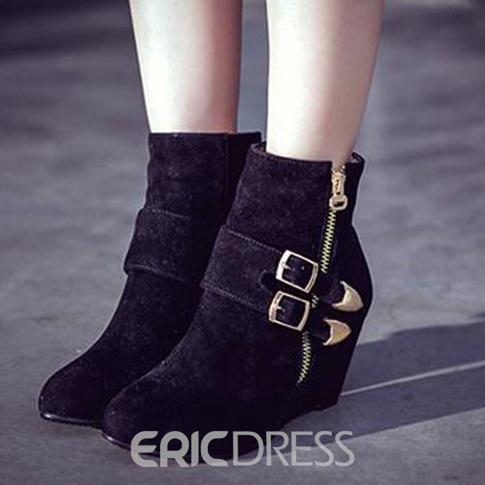 Ericdress Gray Pointed-toe Ankle Boots with Buckles