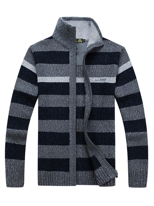 Ericdress High Collar Stripe Men's Sweater