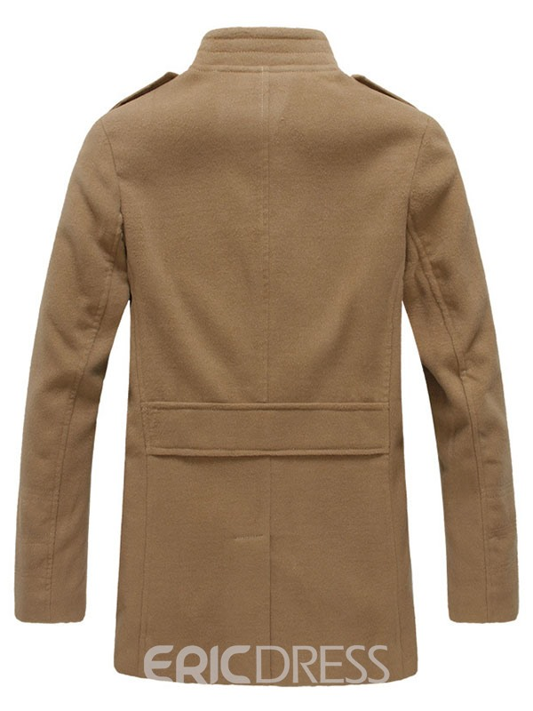 Ericdress Solid Color Long Stand Collar Men's Trench Coat