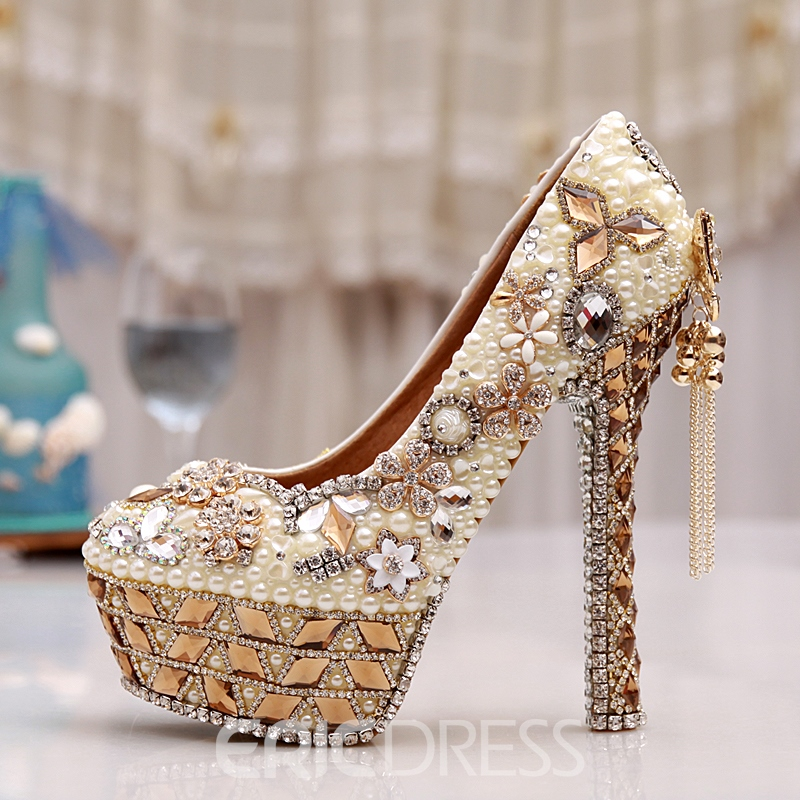 Ericdress Brilliant Pearls Tassels Stiletto Heels Wedding Shoes
