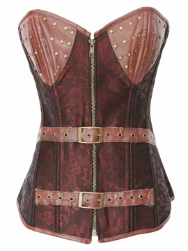 Ericdress Patchwork Zip correa decorada Corset