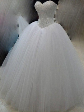 Ericdress Sweetheart Beaded Bodice Ball Gown Wedding Dress