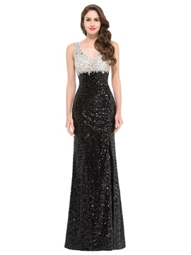 Ericdress Fancy Sheath V-Neck Beading Sequins Evening Dress