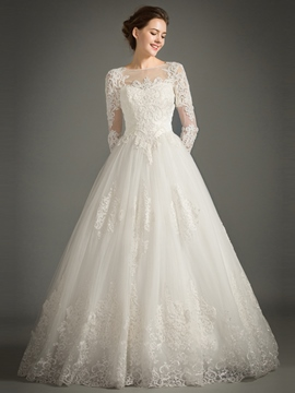 Ericdress Beautiful Appliques Bateau A Line Long Sleeves Wedding Dress
