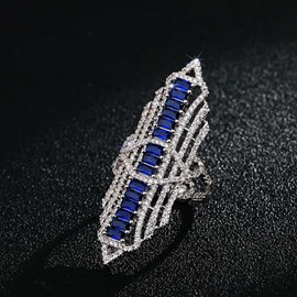 Zircon blue diamond ring