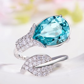 Ericdress Charming 925 Silver Tulip Shaped Gem Inlaid Opening Ring