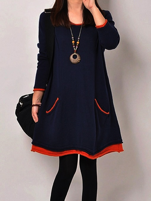 Ericdress Plain Pocket Patchwork Casual Dress