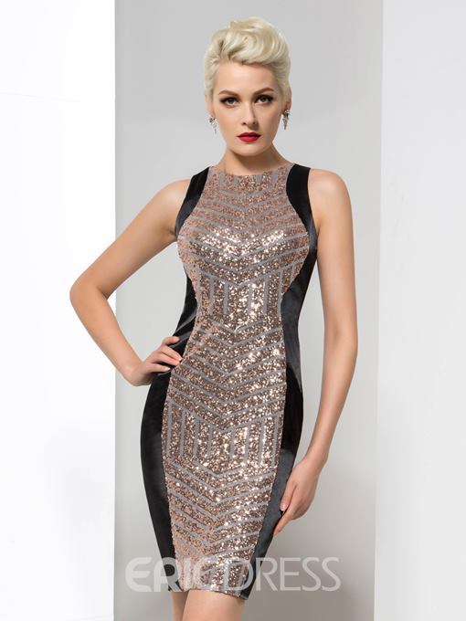 Ericdress Glamorous Sequins Mini Zipper-Up Cocktail Dress