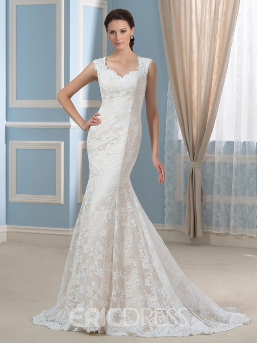 Ericdress Straps Button Mermaid Lace Wedding Dress