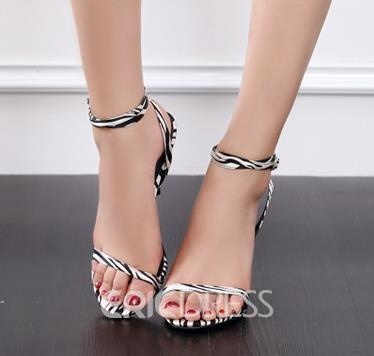 Ericdress Zebra Print Ankle Strap Stiletto Sandals