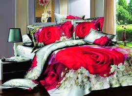 Red Rose and Gypsophila Printed Cotton 3D 4-Piece Bedding Sets/Duvet Covers