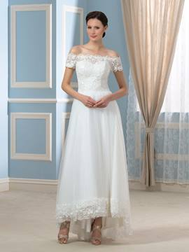 Ericdress Pretty Off the Shoulder Asymmetry Wedding Dress