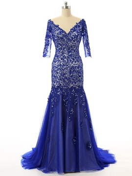 Ericdress V-Neck Long Sleeve Sequins Appliques Evening Dress