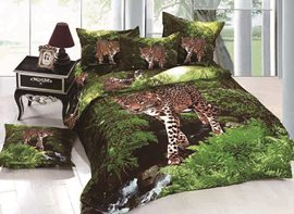 3D Leopard Wandering in Forest Printed Cotton 4-Piece Bedding Sets/Duvet Covers