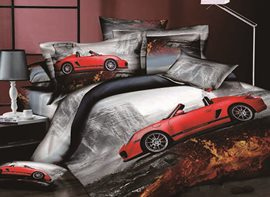Cool Red Roadster Print 4-Piece Cotton Duvet Cover Sets