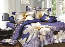 3D White Magnolia Printed Cotton 4-Piece Blue Bedding Sets/Duvet Covers