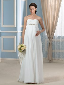 Ericdress Strapless Beading Sashes Beach Maternity Wedding Dress