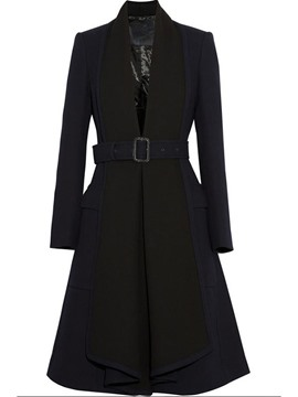 Ericdress Solid Color Slim Belt Elegant Trench Coat
