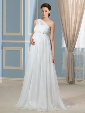 Ericdress One Shoulder Beading Maternity Wedding Dress