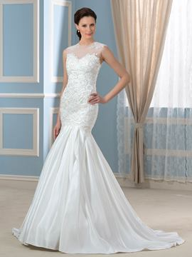 Ericdress Elegant Jewel Appliques Beadings Mermaid Wedding Dress