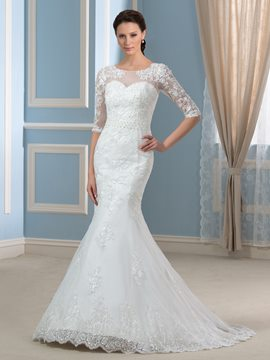 Ericdress Elegant Jewel Half Sleeves Mermaid Wedding Dress