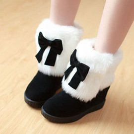 Ericdress Lovely Furry Ankle Boots with Bowtie