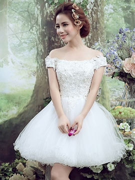 Ericdress dentelle broderie perles bateau Neck Lace-up manches courtes robe boule robe Homecoming Mini