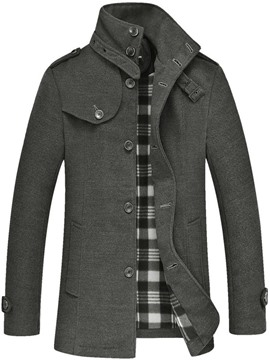 Ericdress Solid Stand Collar Single-Breasted Men's Coat