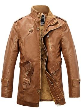 Ericdress PU Zip Flocking Thicken Men's Jacket