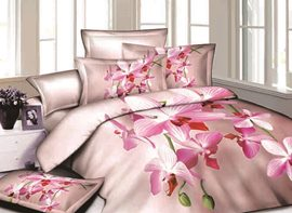 3D Pink Phalaenopsis Printed Cotton 4-Piece Bedding Sets/Duvet Covers