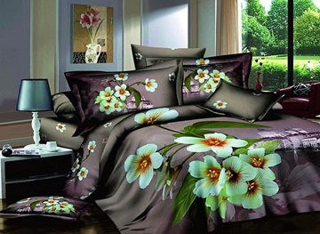 3D White Blossoms and Building Printed Cotton 4-Piece Bedding Sets/Duvet Covers