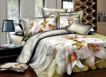 White Lily Printed Pastoral Style Cotton 4-Piece 3D Bedding Sets/Duvet Covers