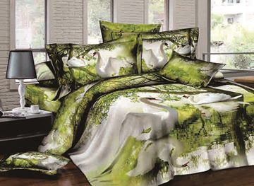 3D Swan Flapping Wings on Lake Printed Cotton 4-Piece Bedding Sets/Duvet Covers